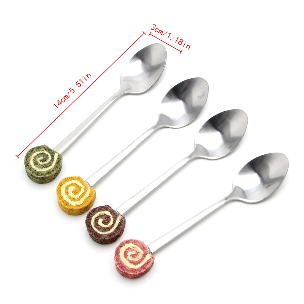 Cute Kids Resin Dessert Cake Ice Cream Stainless Steel Spoons Coffee Teaspoon