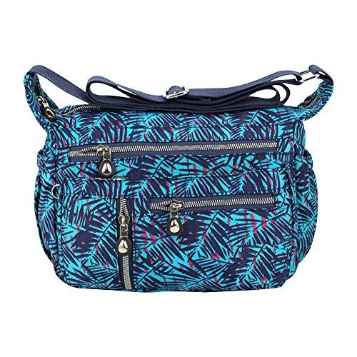 Wocharm Women Casual Shoulder Bags Zipper Multi-pocket Waterproof Nylon Handbag Blue