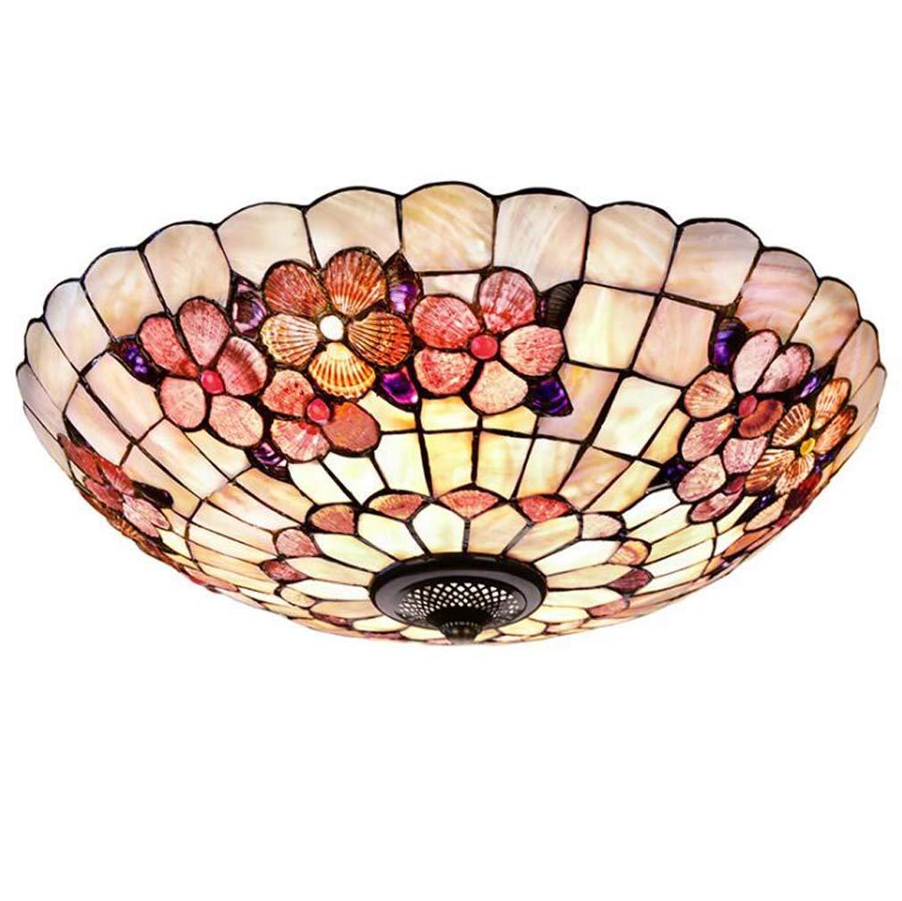 ティファニースタイルの天井ランプフラッシュマウント、豊富な花柄の色シェルシェード天井照明用廊下オフィススタディ、110-240V / E27、E26,A  A B07T67CFV2