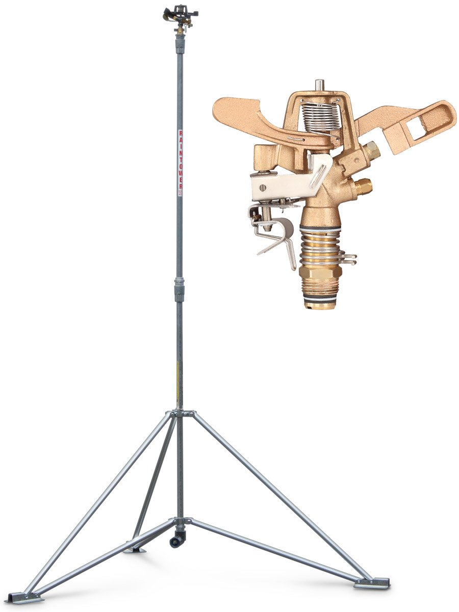 IrrigationKing RK-1A8 6' Raintower Sprinkler Tripod Stand, 3/4 Brass Sprinkler, Needs High Pressure 3/4 Brass Sprinkler