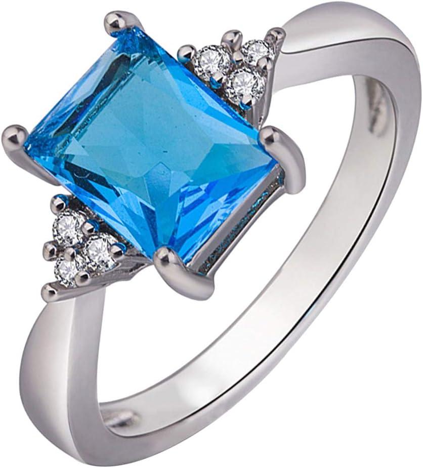 Lsgepavilion - Anillo de compromiso con incrustaciones de piedras preciosas sintéticas para novia US 10 Azul Marino