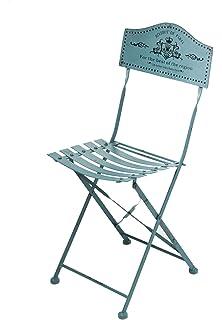 Kobolo Metallstuhl Gartenstuhl Vintage Nostalgie Stuhl Aus Metall Braun  Türkis Höhe 88 Cm