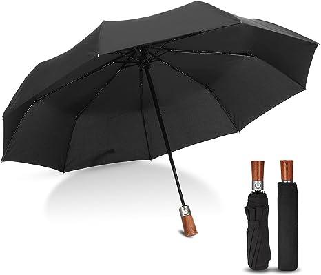 Paraguas Plegable Automático, CAMTOA Paraguas de Viaje, Auto Abierto y Cerrado con Un Botón, Paraguas a