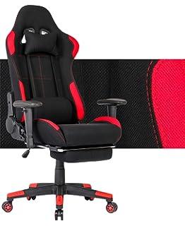 EDWELL Silla de videojuego ajustable silla de cuero de ...