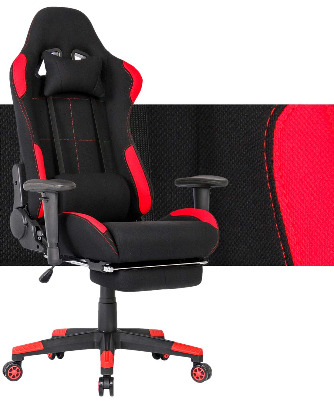 Ergonomic Gaming Chair Racing Style Office Chair Recliner Computer Chair Fabric High-Back E-Sports Chair Height Adjustable Gaming Office Desk Chair with Massage and Footrest (Black/Red with Footrest) by AKAMAZING