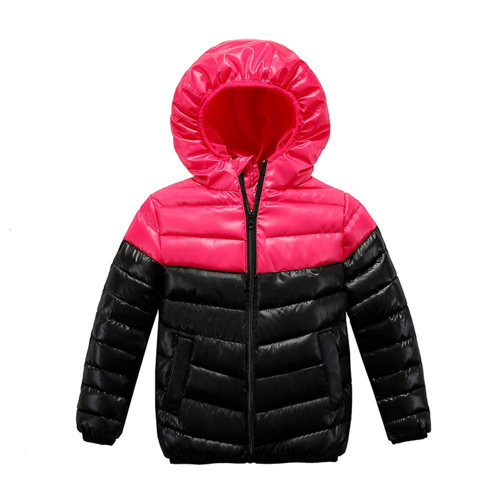Little Kids Winter Warm Coat,Jchen(TM) Clearance! Kids Coat Boys Girls Winter Warm Coat Padded Color Patchwork Winter Jacket for 2-7 Y (Age: 4-5 Years Old, Hot Pink)