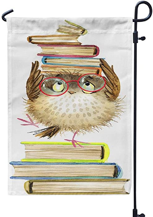 Ansote Animals Garden Flag 12x18 Inch Cute Cartoon Owl Watercolor Forest Bird School Books Book Weatherproof Garden Flag Outdoor Decorative Flags Double Sided Seasonal Flags for Garden Yard Porch