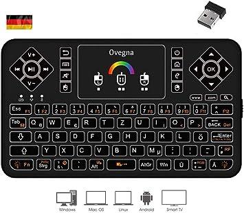 Ovegna Q9: Mini Teclado inalámbrico QWERTZ (alemán), inalámbrico 2.4Ghz, Touchpad, batería Recargable, RGB retroiluminado, para Smart TV, PC, Mac, Raspberry PI 3/4, Consolas, computadora portátil: Amazon.es: Electrónica