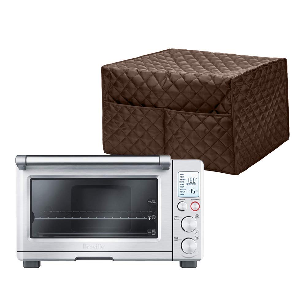 Convection Toaster Oven Cover, Smart Oven Dustproof Cover Large Size Cotton Quilted Kitchen Appliance Protector Storage Bag With 2 Accessary Pockets, Machine Washable CYFC40 (Brown)