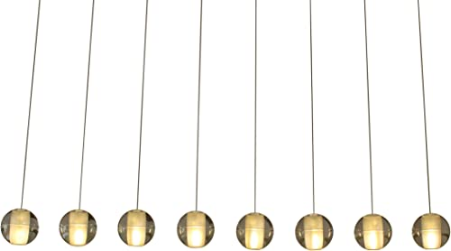 Orion 8 Light Rectangular Floating Glass Globe LED Chandelier, Brushed Nickel