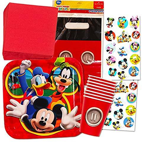 Mickey Mouse Party Supplies Value Set -- Plates, Cups, Napkins, Party Favors Bags and Stickers!
