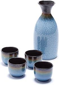 Oenophilia Osaka Sake 5-Piece Set, Durable Japanese Sake Ceramic Set Featuring 1 Tokkuri Bottle and 4 Ochoko cups