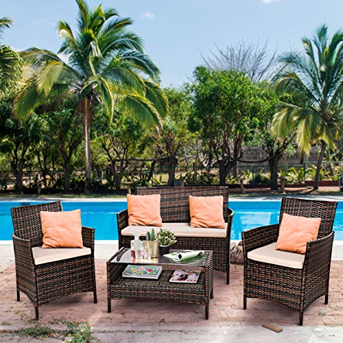 Tangkula Patio Furniture Set 4 Piece Outdoor Lawn Garden Backyard All Weather Infoor Wicker Rattan Steel Frame Cushioned Seat Sectional Sofa Conversation Set (Mix Brown)