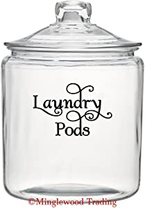 """Black - Laundry PODS 5"""" x 3.5"""" Vinyl Decal Sticker - Detergent Pod Mud Room Cleaning - 20 Color Options"""
