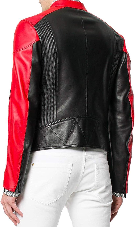 Ayesha Mens Leather Jackets Motorcycle Bomber Biker Genuine Lambskin 446