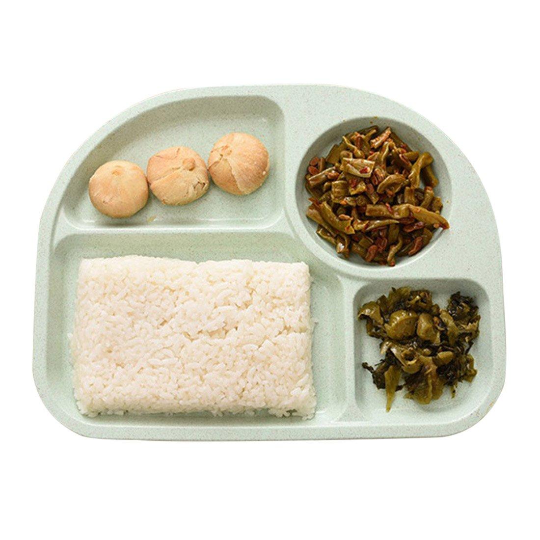 Zhaoke Assiette B/éb/é avec 4 Compartiments Bord Lisse Beige