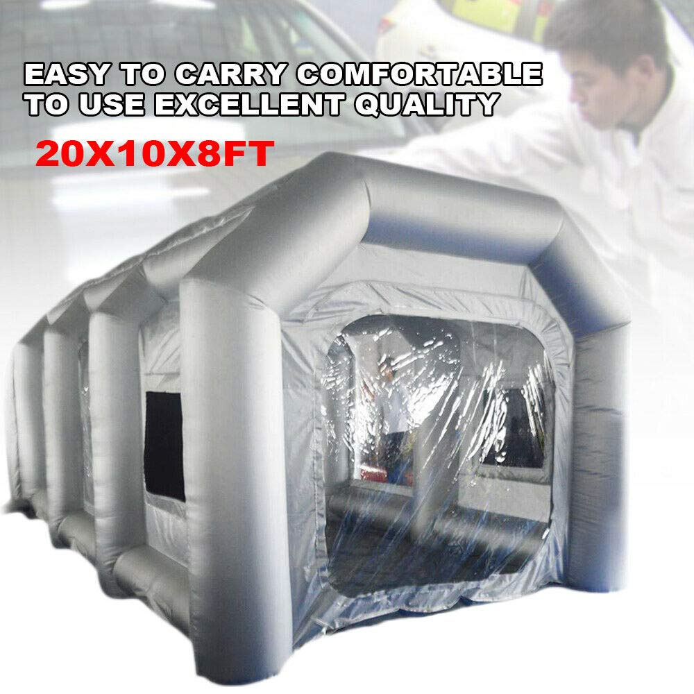 OUKANING Portable Car Spray Booth Inflatable Paint Booth for Car Parking Tent Workstation DIY Paint Tent Removable Washable Filter Constant Air Flow - 20x10x8FT - US Shipping by OUKANING
