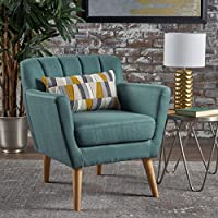 Madelyn Mid Century Modern Fabric Club Chair (Dark Teal)