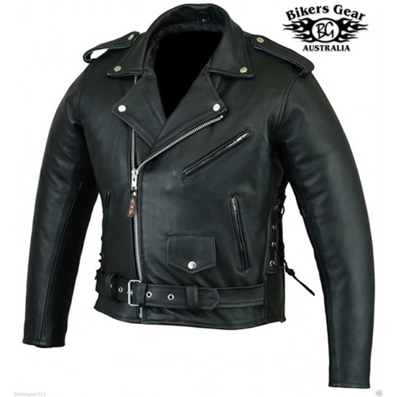 Australian Bikers Gear Men's Classic Leather Brando Motorcycle Punk Jacket