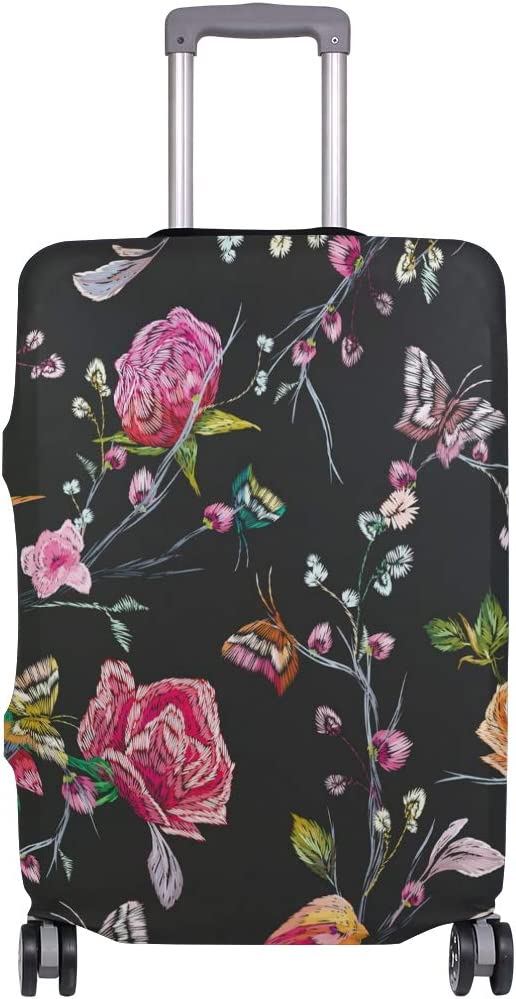 FOLPPLY Vintage Bird Butterfly Floral Luggage Cover Baggage Suitcase Travel Protector Fit for 18-32 Inch