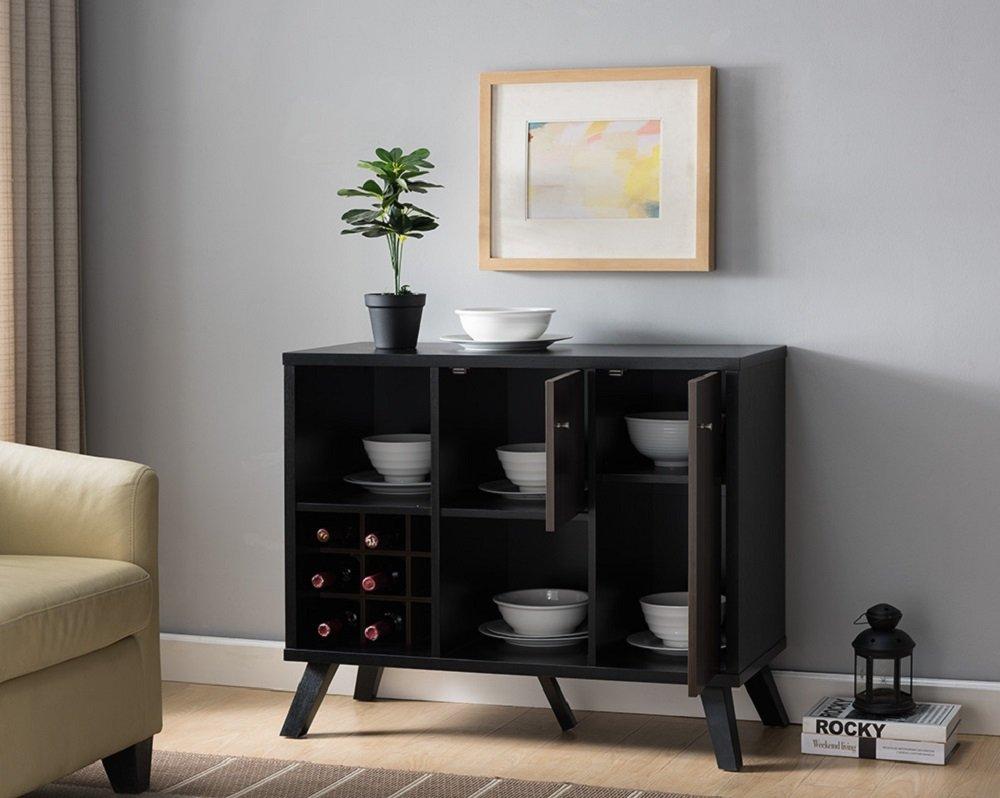 161856 Smart Home Wine Cabinet Table (Dark Walnut & Black)