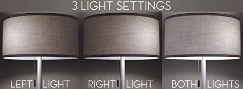 Kira Home Iris 63″ 2-Light Modern LED Floor Lamp 7W Bulb Energy Efficient/Eco-Friendly Sophisticated Textured Shade