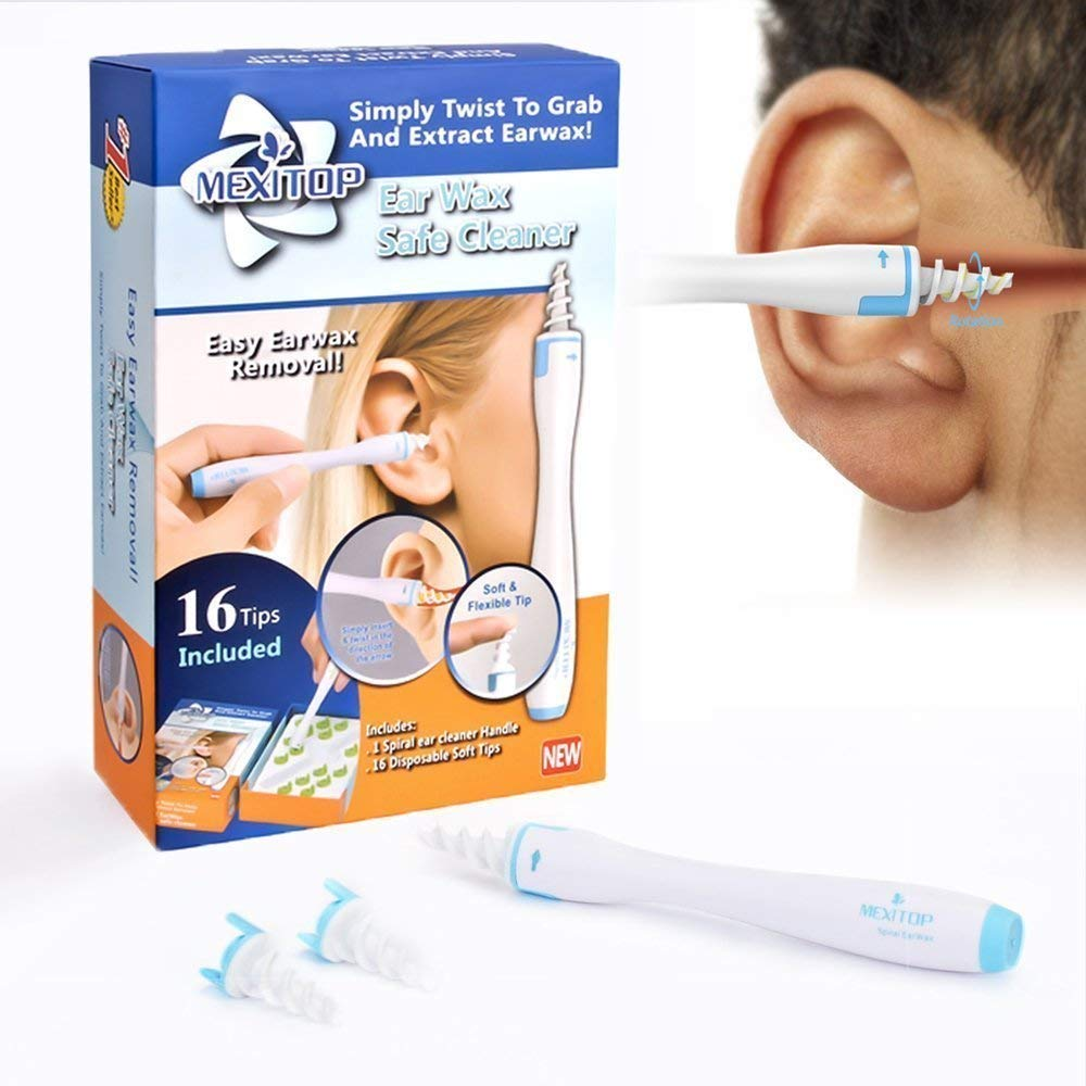 Ohrenreiniger Ohrenschmalz Entferner Ohrwachs Entfernungs Ohr Schmalz Reiniger Spiralreinigungssystem mit 16 entfernbaren Silikon- Aufsätzen für Kleinkinder, Babies, Jugendliche und Erwachsene + Extra Ohrenstopfer zur Soundverringeringerung (blau) AFUNSO