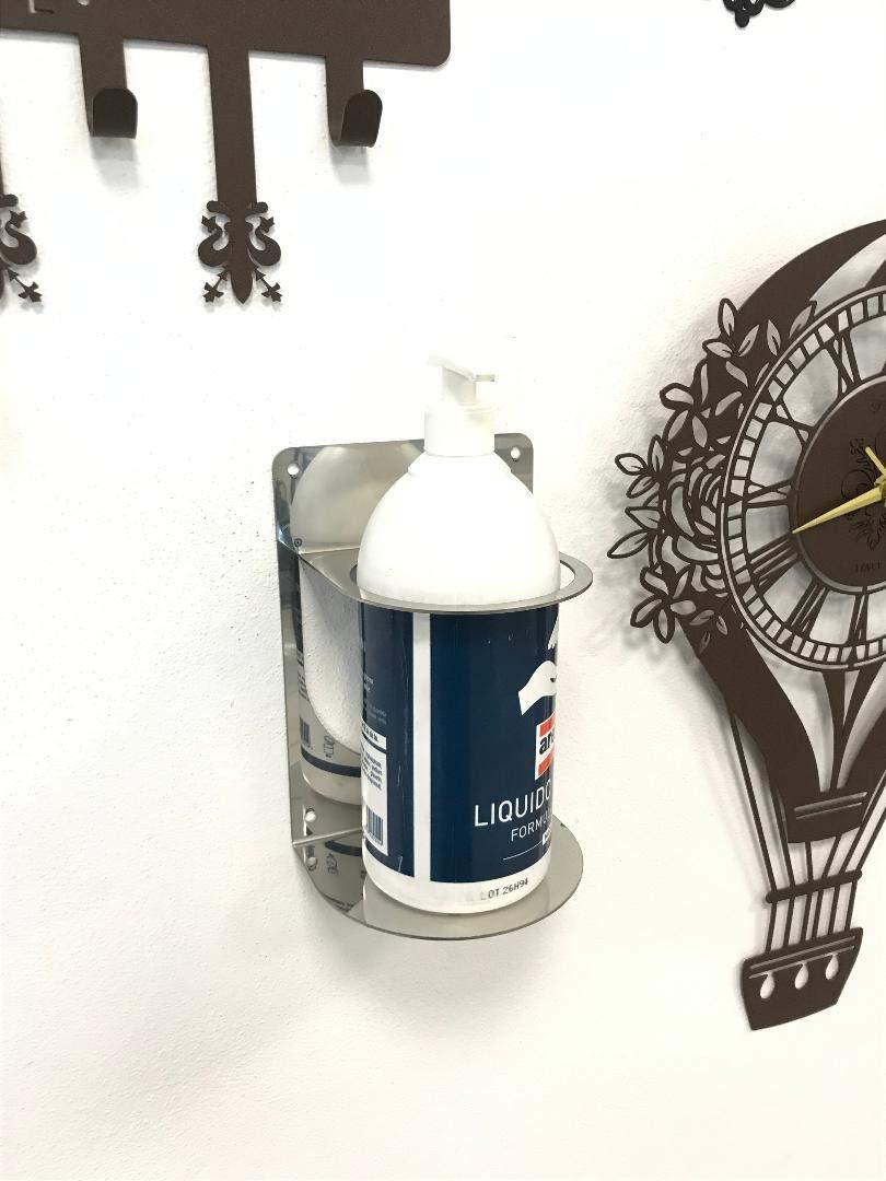 conception simple Support mural pour gel d/ésinfectant mains en acier inoxydable