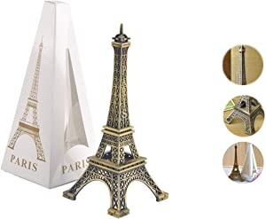 Metal French Eiffel Tower Statue Figurine Replica Centerpiece Room Table Decor Jewelry Stand Holder French Souvenir Gift from Paris, France (Large: 10 Inches)
