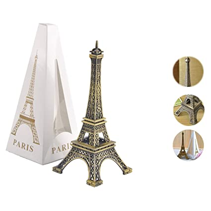 Metal French Eiffel Tower Statue Figurine Replica Centerpiece Room Table  Decor Jewelry Stand Holder French Souvenir Gift from Paris, France (Large:  10