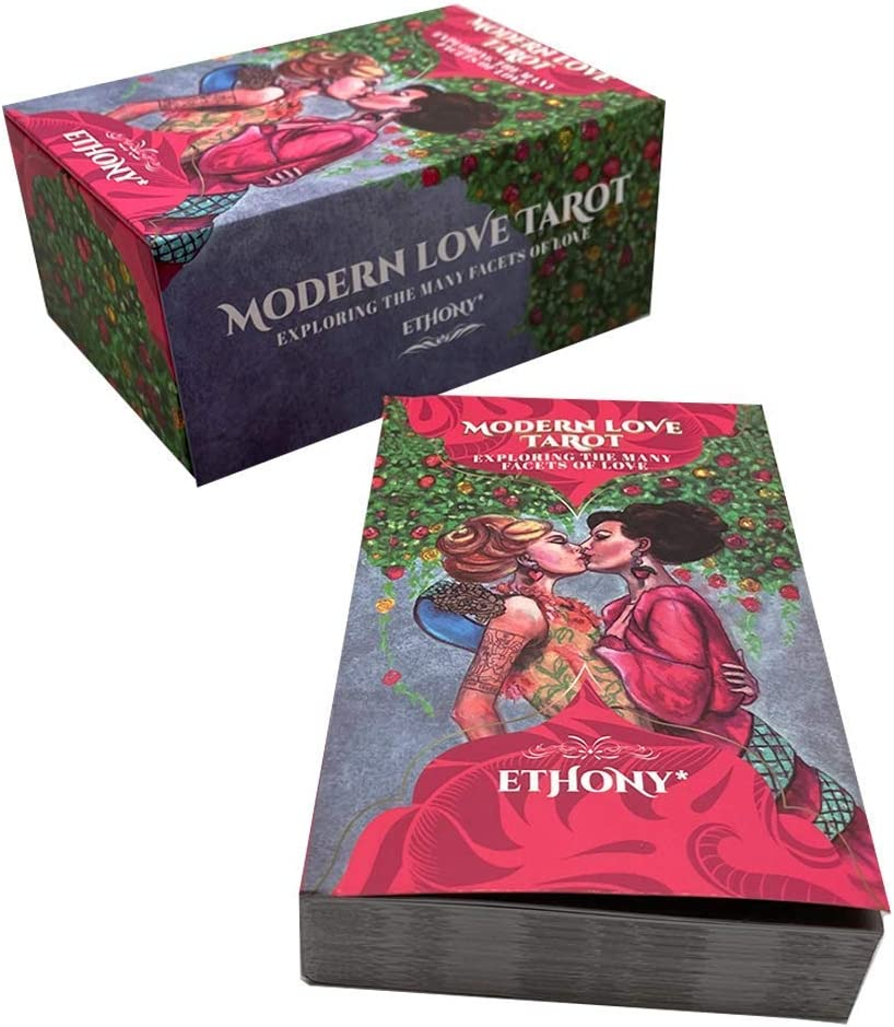 Gilded Edges Full Color Guidebook Foil Stamped Back Modern Love Tarot Deck: 78 Cards Exploring The Many Facets of Love and Relationships Keepsake Box