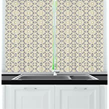 Geometric Decor Kitchen Curtains by Ambesonne, Arabesque Moroccan Floral Azulejos Inspired Squares Circles Artwork, Window Drapes 2 Panels Set for Kitchen Cafe, 55W X 39L Inches, Taupe Light Yellow