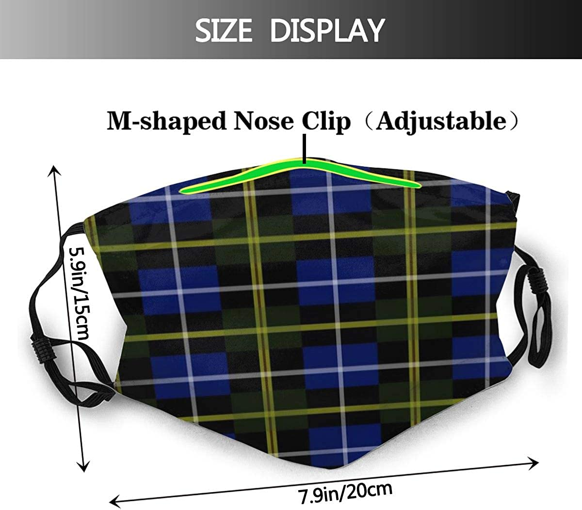 CHASOEA Unisex Reusable Nose Face Cover Blue Nova Scotia Tartan Plaid Washable Mouth Shield Windproof with Replaceable 2 Filters for Outdoor Skiing Cycling Camping Running
