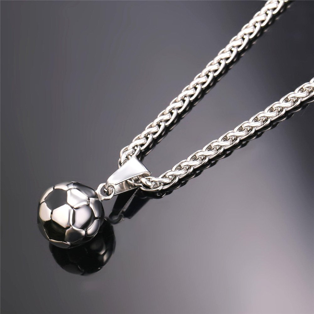 U7 Stainless Steel Black Enamel /& White Soccer Ball Pendant with 22 Inch Wheat Chain