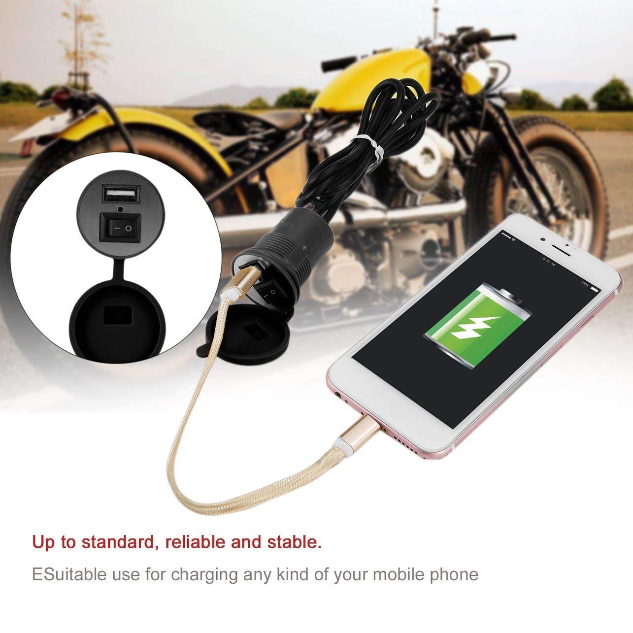 WOSOSYEYO USB Moto Prise de Charge de t/él/éphone Portable USB Alimentation /étanche 12-24V Moto Modifier Adaptateur Chargeur USB Accessoire