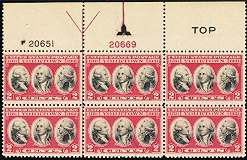 1931 2 Cent Yorktown Issue Top Plate Number Block of Six Stamps Scott 703