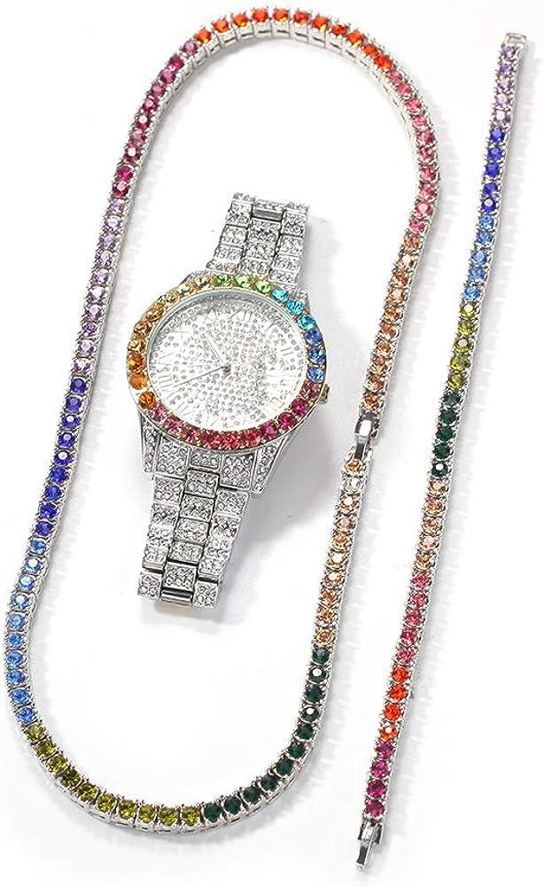 cilyberya Hip Hop Hombres Color Diamante Pulsera Collar Reloj Iced out Bling Crystal Diamond Damas Relojes Analog Quartz Charm Bracelet Three-Piece Jewelry Set