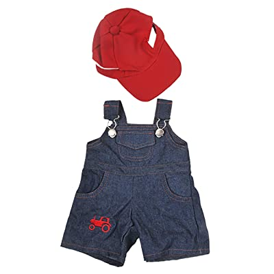 "Farmer Outfit with Cap Outfit Teddy Bear Clothes Fits Most 14"" - 18"" Build-A-Bear and Make Your Own Stuffed Animals: Toys & Games"