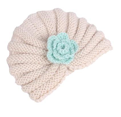 Hosaire Enfants Hiver Chapeau Bebe Tricote Bonnet Mode Fleurs Chaud