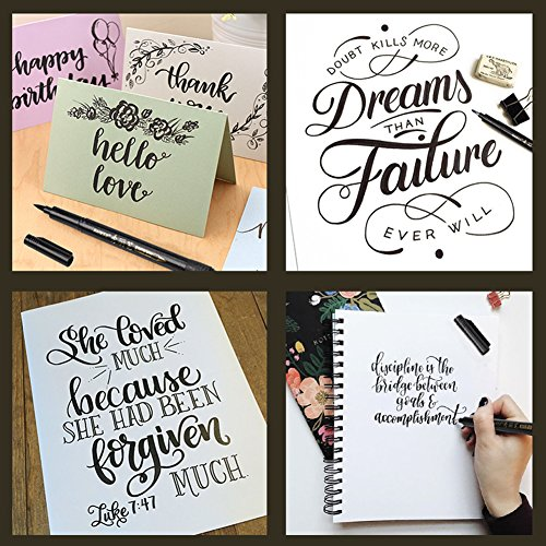 Refillable Brush Marker Pens for Hand Lettering - 4 Size Black Calligraphy Ink Pen for Beginners Writing, Signature, Illustration, Design by BOXUN (Image #7)