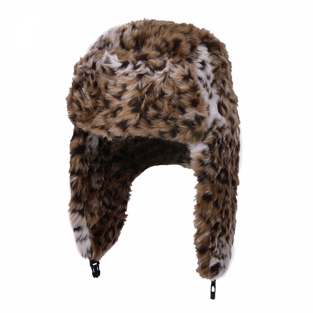 Women's Leopard Print Brown Trapper Quilted Winter Ear Flap Hat Jewellerygets NL-2183 F Leopard