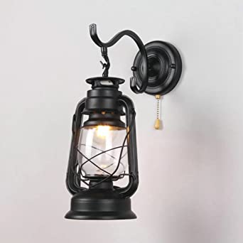 Retro Pull Chain Switch Lantern Wall Lamp Kerosene Wall Sconces,Metal  Transparent Glass Lampshade