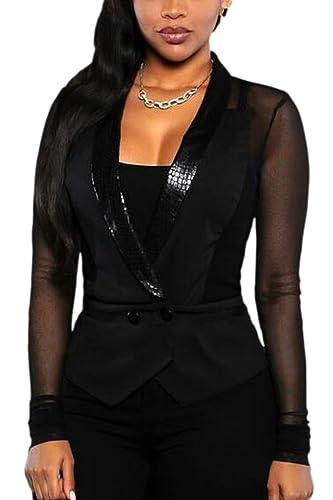 La Mujer Mesh Patchwork Sheer Frente Abierto Solapa Cuello Blazer Jacket