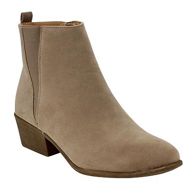 BESTON DE04 Women's Chelsea Style Side Zipper Ankle Booties, Color Taupe,  Size:10
