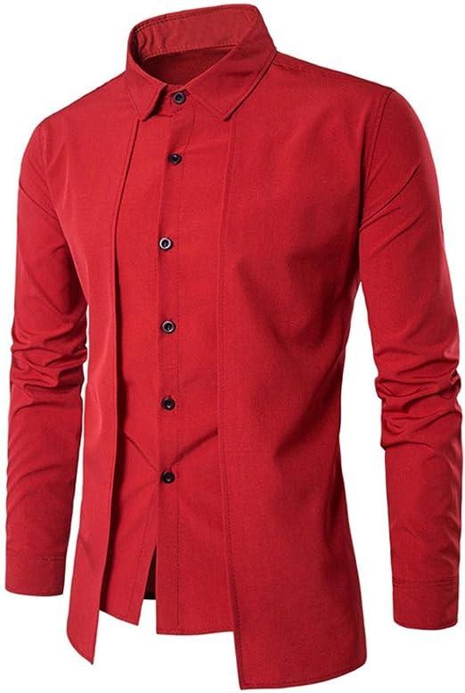 Blusa Hombre Yesmile Camisa de vestir delgada de la camisa formal de vestir de manga larga de la camisa formal de manga larga de los hombres de lujo