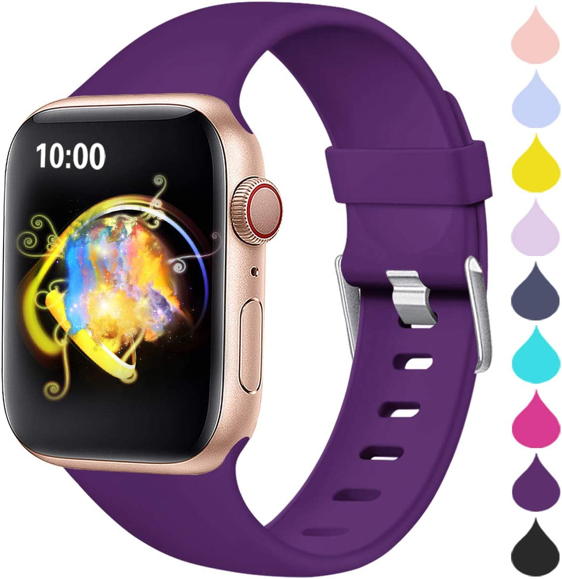 Haveda Sport Compatible for Apple Watch Band 40mm Series 6 Series 5 4, iWatch Bands 38mm Womens for Apple Watch SE, iwatch Series 3 2 1 Men, Waterproof Band for Apple Watch 5, Purple 38mm/40mm S/M