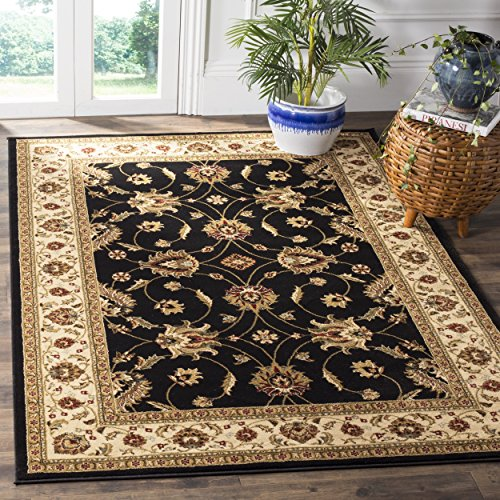 - Safavieh Lyndhurst Collection LNH553-9012 Traditional Floral Black and Ivory Square Area Rug (6'7