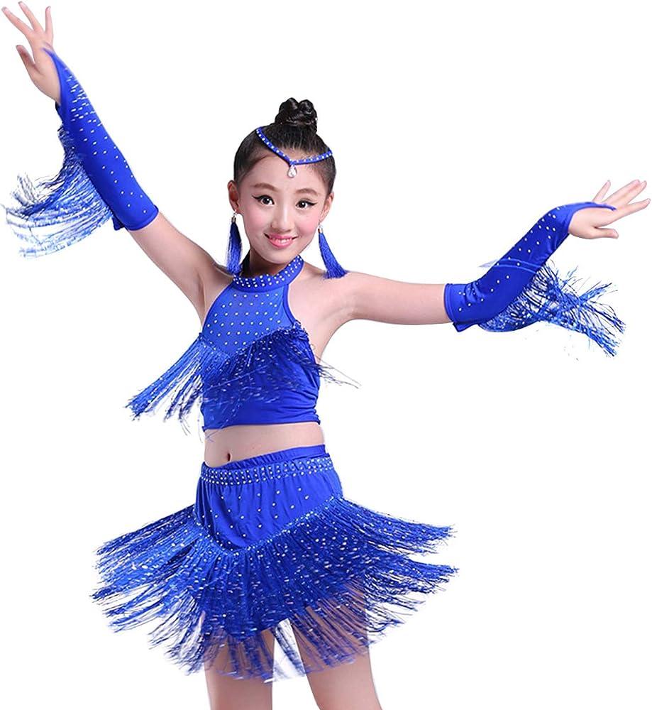 Happy Cherry - Niñas Vestido de Baile Latino Traje Corto de Danza ...