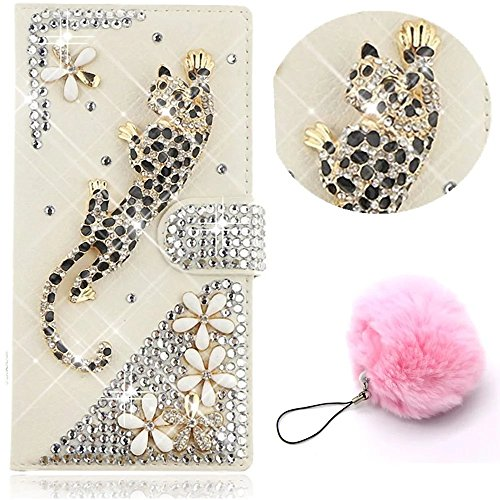Galaxy A5 2017 Leather Wallet Case,Vandot Samsung Galaxy A5 2017 A520 Flip Cover,Leopard Flower Bling Diamond Luxury Shining Rhinestone Magnetic Book Style Protective Case With Card Holder+Pompon Ball
