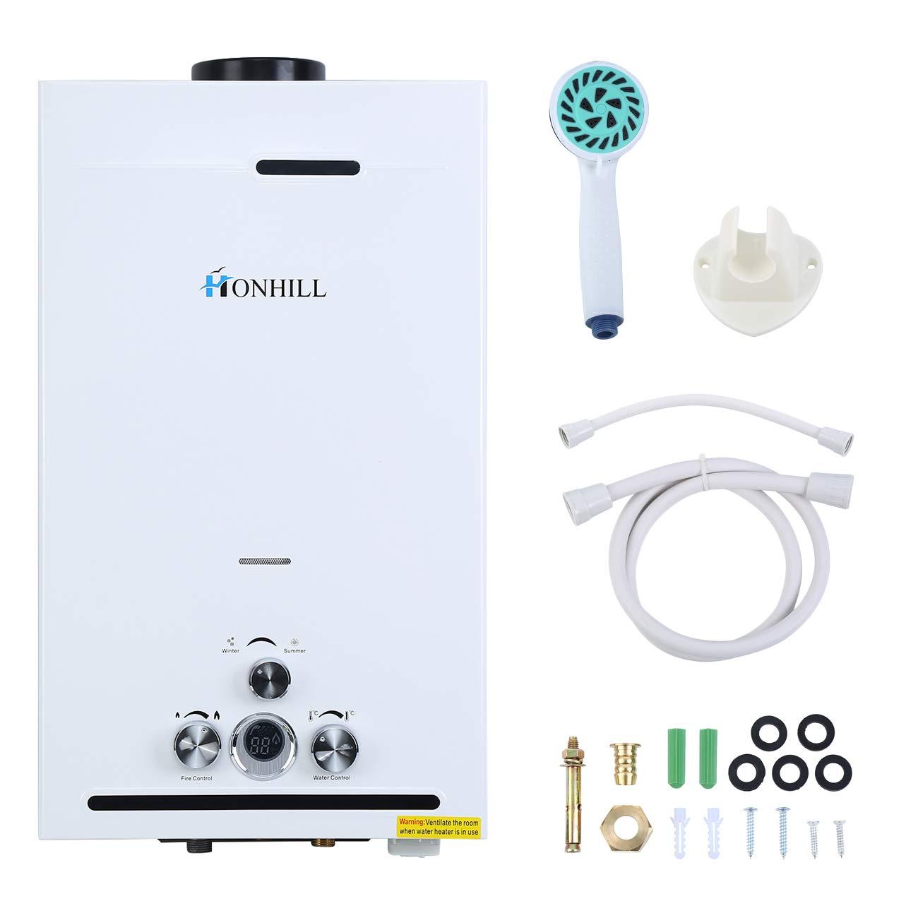 TryESeller Affichage numérique de chauffe-eau sans réservoir 12L 3.2GPM LPG Chaudière à eau instantanée en acier inoxydable Brûleur à eau chaude au gaz de pétrole liquéfié